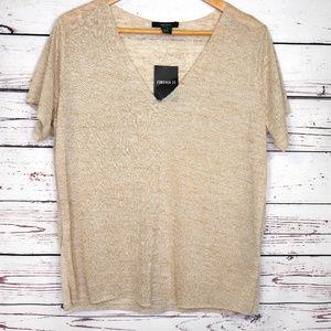 Forever 21 v-neck tshirt | marled raw edge tee